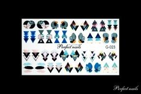 Vandeniniai lipdukai nagų dizainui | G023